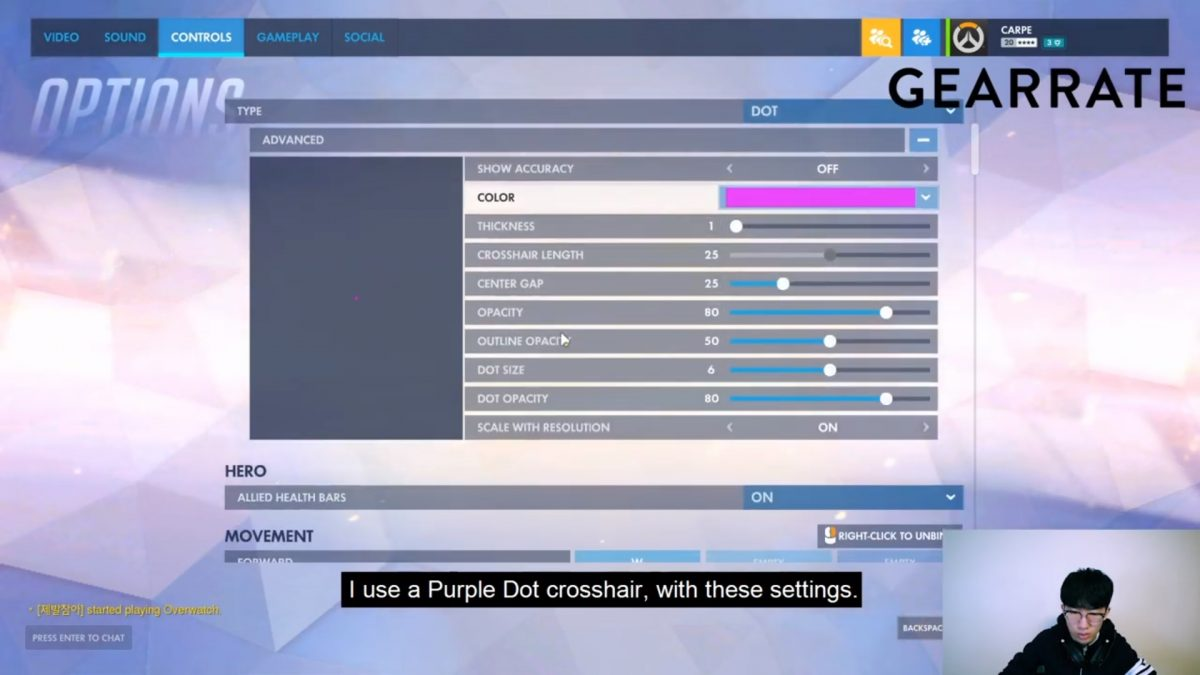 Carpe's Overwatch Crosshair Settings