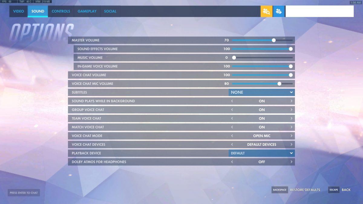 Overwatch Options Sound Settings