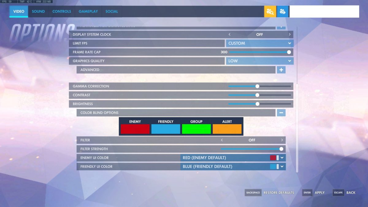 Overwatch Video Settings Color Options